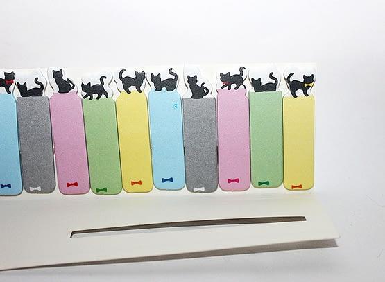 színes cicás könyvjelző, macskás ajándék