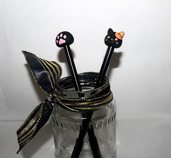 fekete macskás tollak, cicás ajándék