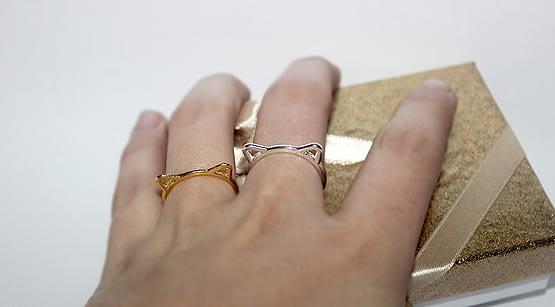 cica füles gyűrű, macskás ajándék